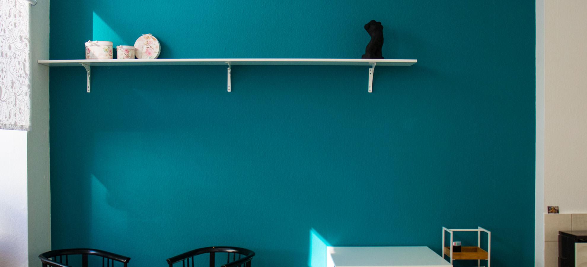 Kreativatelier Hahngasse - Blaue Wand